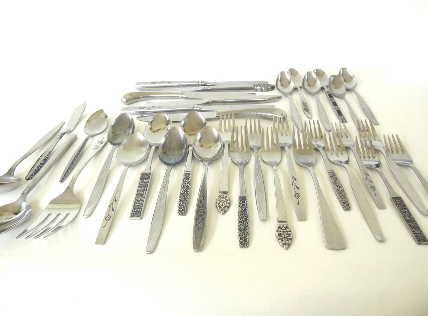 Eclectic stainless flatware set mid century modern service - Contemporary stainless flatware ...