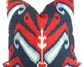 Duralee, Red, White, Blue  Ikat Decorative Pillow Cover  Square or Euro pillow cover, accent pillow, throw pillow