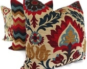 Blue and Red Floral Medallion Decorative Pillow Cover Square, Eurosham and Lumbar Pillow, Toss Pillow, Throw Pillow, Accent Pillow