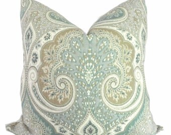 Kravet Light Blue, Tan, Gray Ikat Decorative Pillow Cover  18x18, 20x20 or 22x22, Accent Pillow, Throw Pillow, Slate blue, aqua tan pillow