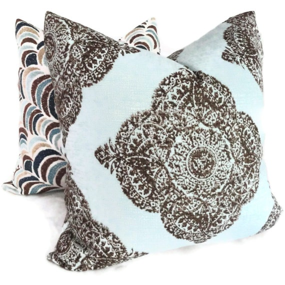 John Robshaw Blue Brown  or Aqua Wood Block Decorative Pillow Cover  Square, Eurosham or Lumbar pillow cover, Toss pillow, accent pillow