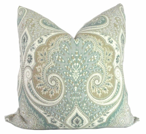 Kravet Light Blue, Tan, Gray Ikat Decorative Pillow Cover  18x18, 20x20 or 22x22, Accent Pillow, Throw Pillow, Slate blue, aqua tan pillow