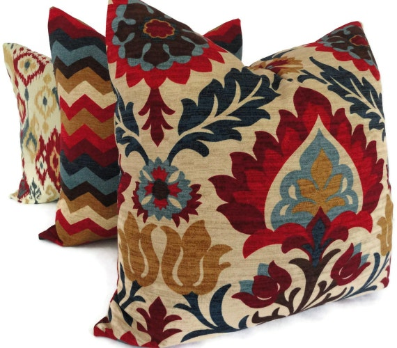 Blue And Red Floral Medallion Decorative Pillow Cover Square