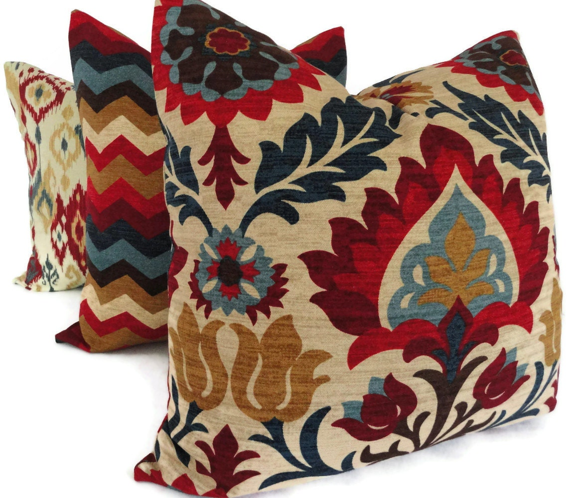Images For Decorative Pillows : Blue and Red Floral Medallion Decorative Pillow Cover Square