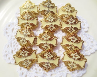 Shank Buttons Gold Cream Set of 18 Ornate Arabesque DIY Sewing
