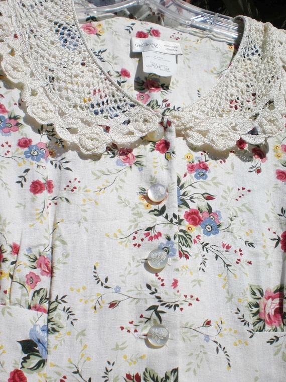 Granny Chic Vintage Dress Flower Crochet