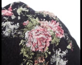 SALE !! Felted Beret Felt Hat black with rosa Pink,nuno felted beret , Wool and Silk , Warm and beauty