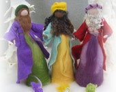 Needle felted and wet felted Nativity Set A felted, Three wise man