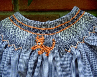 Bishop Dress Smocked with an Auburn Tiger