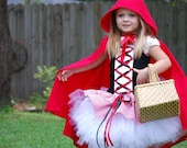 Custom Little Red Riding Hood complete with cape tutu dress costume size 18 months 24 mos 12 m 2T 3T 4T 5