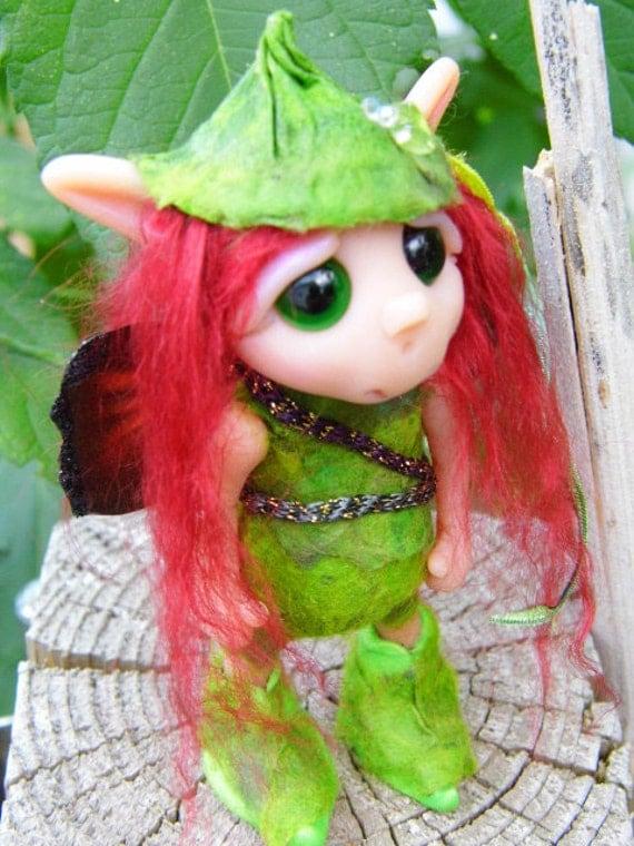 "OOAK Handmade Polymer Clay Woodland Fairie Pixie ""Felicity"" Ooak Fantasy Art Doll"