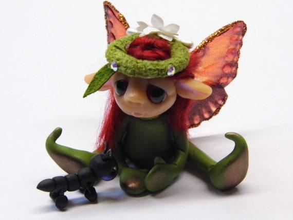 "OOAK Handmade Polymer Clay Tiny Woodland Fairy Fairie ""Gretel"" And Her Little Friend"" Fantasy Art Doll"