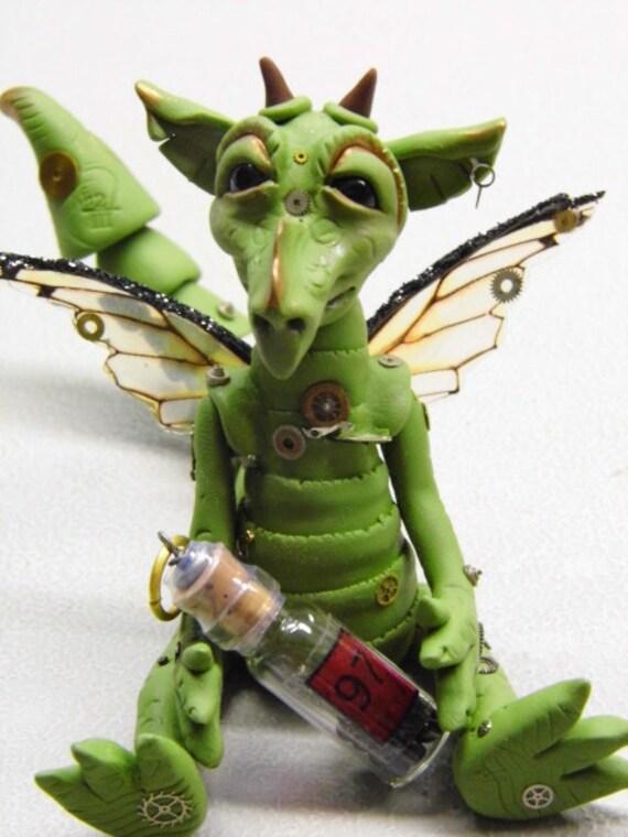 """OOAK Handmade Polymer Clay Poseable Steampunk Dragon """"Firu"""" Fantasy Art Doll"""