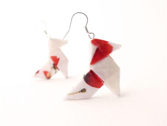 Poppy Origami earrings Poppy print on silk (Reserved for Valentine)