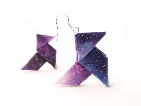 Galaxy Origami earrings Purple ombre print on silk OOAK by Jye, Hand-made in France