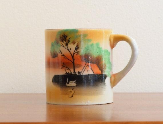 Vintage Coffee Mug / Tea Cup - Orange & Blue Sunset Scene w. Swan and Bright Green Tree on Island, Made in Japan