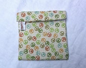 Luau Wrap Neutral Peace Sign Organic Cotton Lunch Snack Bag Moisture proof, Reusable, Washable- LARGE 7 x 6.5 in