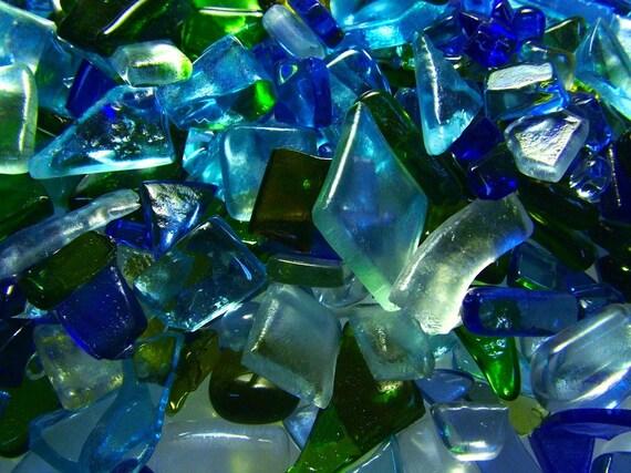 Bottle Glass Chips Kiln Fired, Mosaic size 1/2 Pound (B114)
