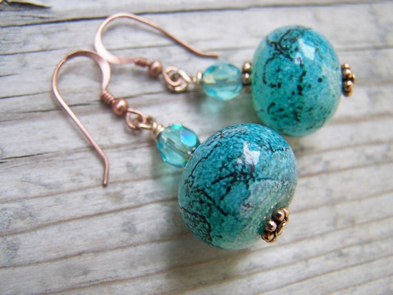 Artisan Lampwork Czech Glass Copper Dangle Earrings