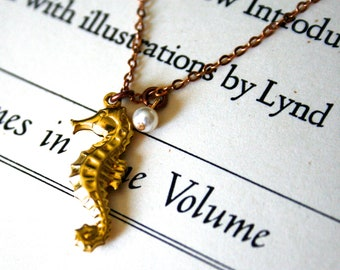 Clearance - Brass Seahorse Charm and Cream Swarovski Pearl Necklace, Delicate Cable Chain, Nautical, Marine
