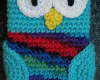 Made to order Hand Crocheted Owl iPhone Cell phone Cover Bag Case Aqua Rainbow Blue Red