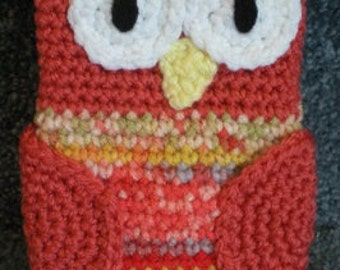 Made to Order Hand Crocheted Owl iPhone Cell phone Cover Bag Case Peach Autumn Fall Harvest