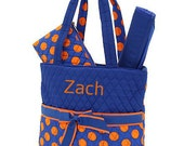 Personalized Diaper Bag in Blue and Orange Polka Dot Colors 3 PIECE