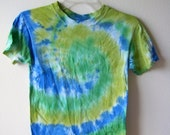 Kids Tie Dye T - Shirt Size Large in Blue, Lime Green & Green