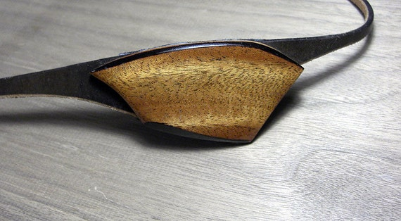 Sweet Mahogany eye patch for the right eye, wood, leather and awesome