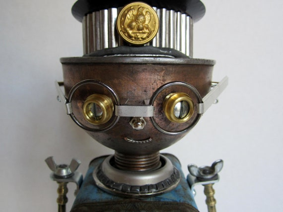 Reserved for K Darr - Mr. FooterFracker Bot - found object robot sculpture assemblage