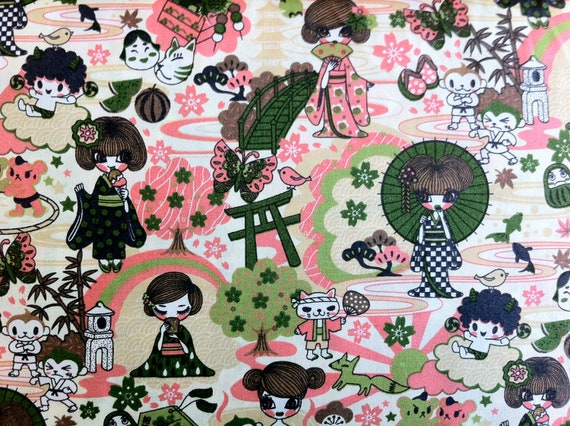 Kawaii Geisha Tomodachi Fabric in green natural (1 yard) BUY MORE & SAVE