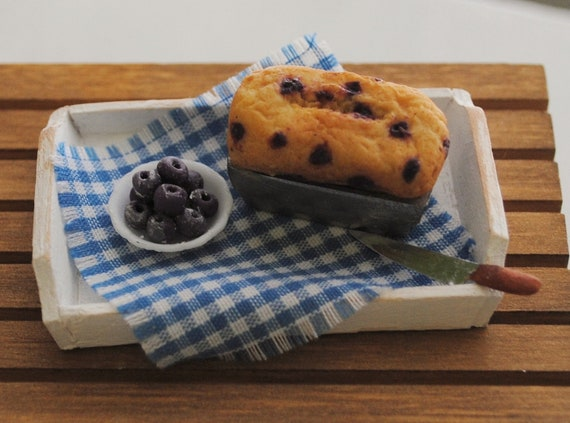 Miniature Blueberry Loaf And A Bowl Of Blueberries On A Shabby Chic Tray