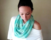 Aqua Blue Sweater Scarf - Lightweight Knit Circle Scarf - Mint Blue Infinity Scarf, Loop Scarf, Eternity Scarf