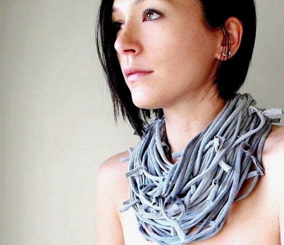 Closeout Sale - Statement Scarf Necklace - Womens Eco Friendly Cotton Jersey Heather Gray Scarf Necklace - Upcycled