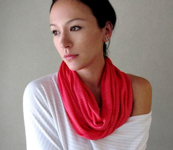 Hot Pink Infinity Scarf - Lightweight Knit Circle Scarf - Bright Pink Loop Scarves - Infinity Cowl