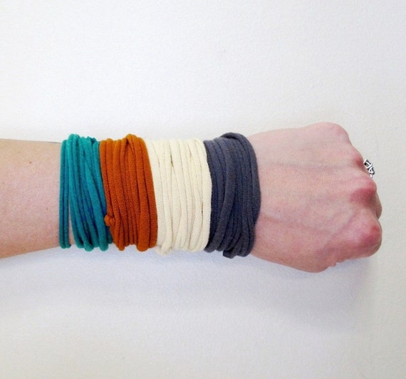 Fabric Bracelet Cuff - Upcycled Cotton Jersey - Burnt Orange, Sea Green, Buttercream, Gray