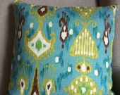 Ikat Pillow in Green, Brown and Blue