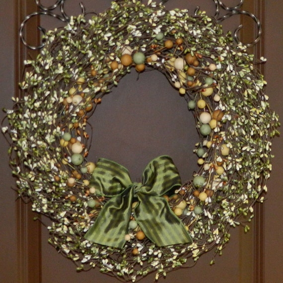 Autumn Wreath - Fall Door Wreath - Green Wreath - Year Round
