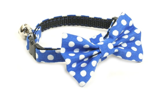 Cat Collar - Blue Polka Dots - Matching Bow Tie and Flower Available