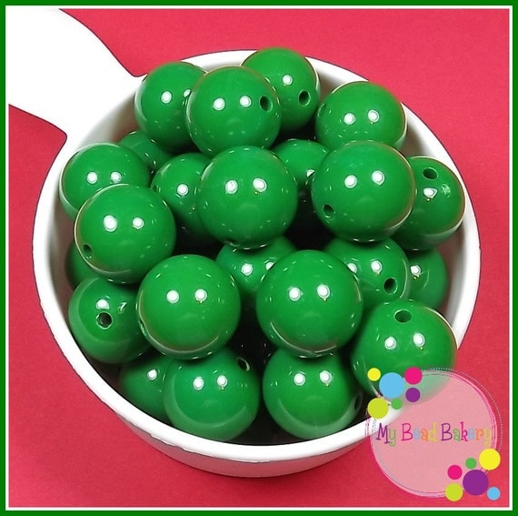10 Pieces 20mm Classical Green Acrylic Gumball Style Beads DIY Crafts For Chunky Necklaces And Bracelets Christmas