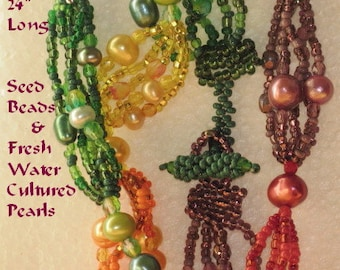 "Sale!! Rainbow of Pearls and Seed Beaded Necklace 24"" long FREE SHIP USA 240409"
