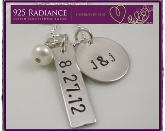 Hand Stamped Necklace - Personalized Jewelry - JUST MARRIED