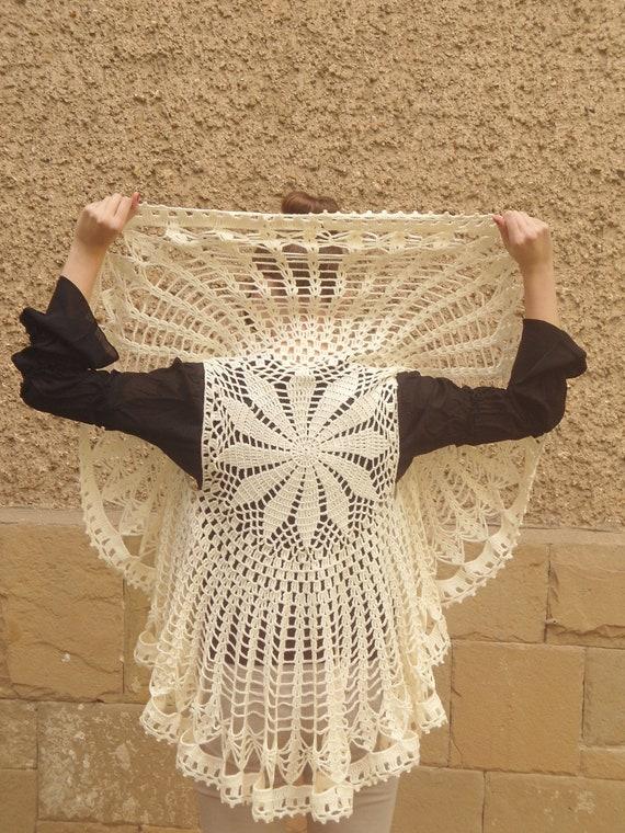 Crochet Flower Shrug Pattern : Items similar to Crochet Champagne Bolero, Circle Flower ...