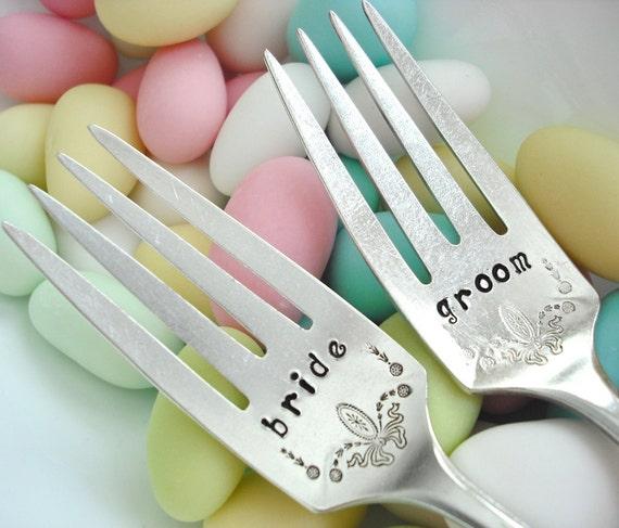 REDUCED - Vintage Silver Plated Hand Stamped bride & groom Wedding Cake Forks for your Wedding Celebration - Set of 2 - Adam 1917
