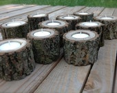 10 Wood Log Tea Light Candle Holders for Woodland Wedding. Black Walnut. All Natural. Rustic. 7 Hour Tea Light Candles Included.