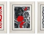 Set of Three Modern Red/Gray Wall Art - Print Set - Home Decor (Unframed)