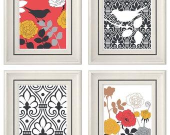 Set of Four Modern Autumn Bird Wall Art - Print Set - Home Decor - 8x11 Print (Unframed)