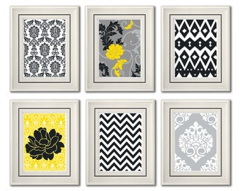 Set of Six Modern inspired /Vintage Yellow/Gray Art Print Collection (Unframed)