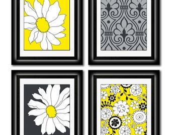 Set of Four Modern Yellow/Black Art Print -8x11 print set - home decor (Unframed)