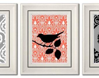 Set of Three Modern Coral/Black Wall Art - Print Set - Home Decor (Unframed)